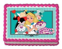 Alice in Wonderland edible image cake sticker cupcake topper