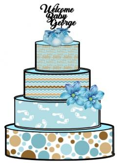 Baby boy cake print wraps sugar sheet edible image