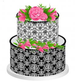 Black and white Damask Designer print edible image cake wrap