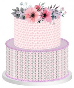 Pink and gray print cake wraps edible cake toppers
