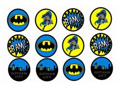 Batman edible image cupcakes decals