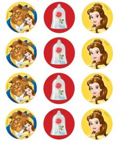 Beauty and the Beast cupcake topper, Beauty and the Beast cake sticker, Beauty and the Beast cake image topper edible