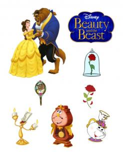 Beauty and the Beast cake sticker edible image cake topper