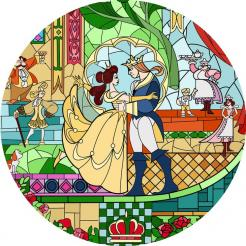 Beauty and the beast edible image cake sticker topper stainglass