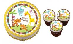 Baby Shower Safari cake sticker edible image cake decal wafer paper cupcake topper