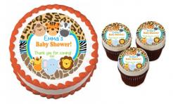 Baby Shower He or She Doe or Buck cake sticker edible image cake decal wafer paper cupcake topper