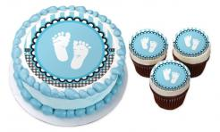 Baby Shower footprint cake sticker edible image cake decal wafer paper cupcake topper