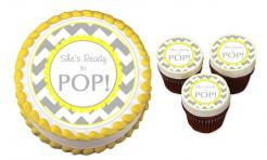 About to Pop Baby Shower cake sticker edible image cake decal wafer paper cupcake topper
