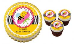Bee Baby Shower cake sticker edible image cake decal wafer paper cupcake topper