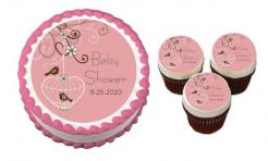 Butterfly Baby Shower cake sticker edible image cake decal wafer paper cupcake topper