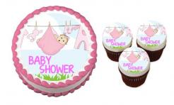 Clothesline Baby Shower cake sticker edible image cake decal wafer paper cupcake topper