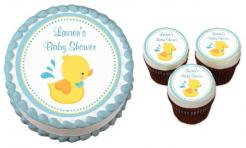 Baby Shower Ducks cake sticker edible image cake decal wafer paper cupcake topper