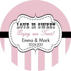 wedding cake toppers, Love is Sweet Pink cupcake topper edible image