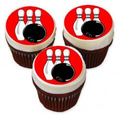 bowling cake topper edible image sports cupcake toppers