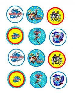 Beyblade cake sticker edible image cake decal wafer paper cupcake topper