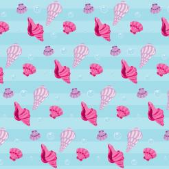 Little Mermaid cake sticker prints sea shells print