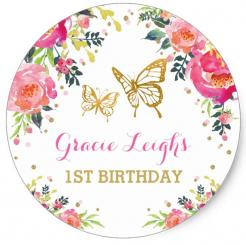 1st burthday butterflies gold flowers cake topper edible image cupcake cake topper cake sticker