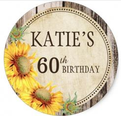 60th birthday daisy flowers  cake topper edible image cupcake cake topper cake sticker