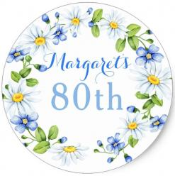 80th birthday flowers blue cake topper edible image cupcake cake topper cake sticker