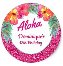 Hawaiian, Aloha cake topper edible image cupcake cake topper cake sticker
