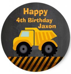 dump truck tractor birthday cake topper edible image cupcake cake topper  cake sticker