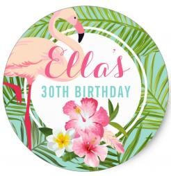Hawaiian flamingo cake topper edible image cupcake cake topper cake sticker
