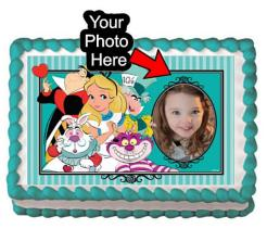 Alice in Wonderland cake topper cake print edible image
