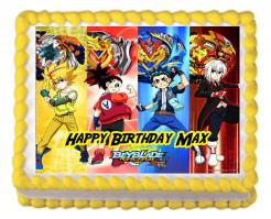 Beyblade cake sticker, Beyblade edible image cake decal wafer paper cupcake topper