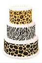 animal print cake, cake stickers