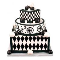 retro cake sticker cake idea