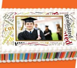 graduation cake topper photo frame edible image