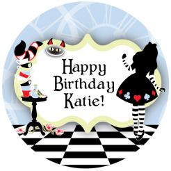 Alice in Wonderland cake sticker edible image cake decal